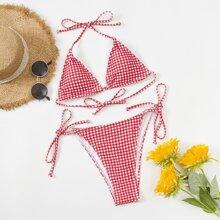 Bañador bikini con cordon lateral triangulo de guingan
