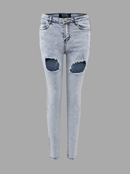 Yoins Skinny Jeans In Light Wash With Open Rips