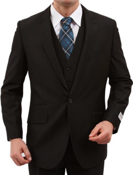 Mens One Button Slim Fit Black Suit