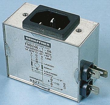 Schaffner ,16A,250 V ac Male Panel Mount IEC Filter FN9246-16-06,Faston