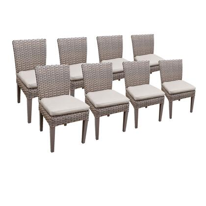 TKC290b-ADC-4x-C-BEIGE 8 Oasis Armless Dining Chairs with 2 Covers: Grey and