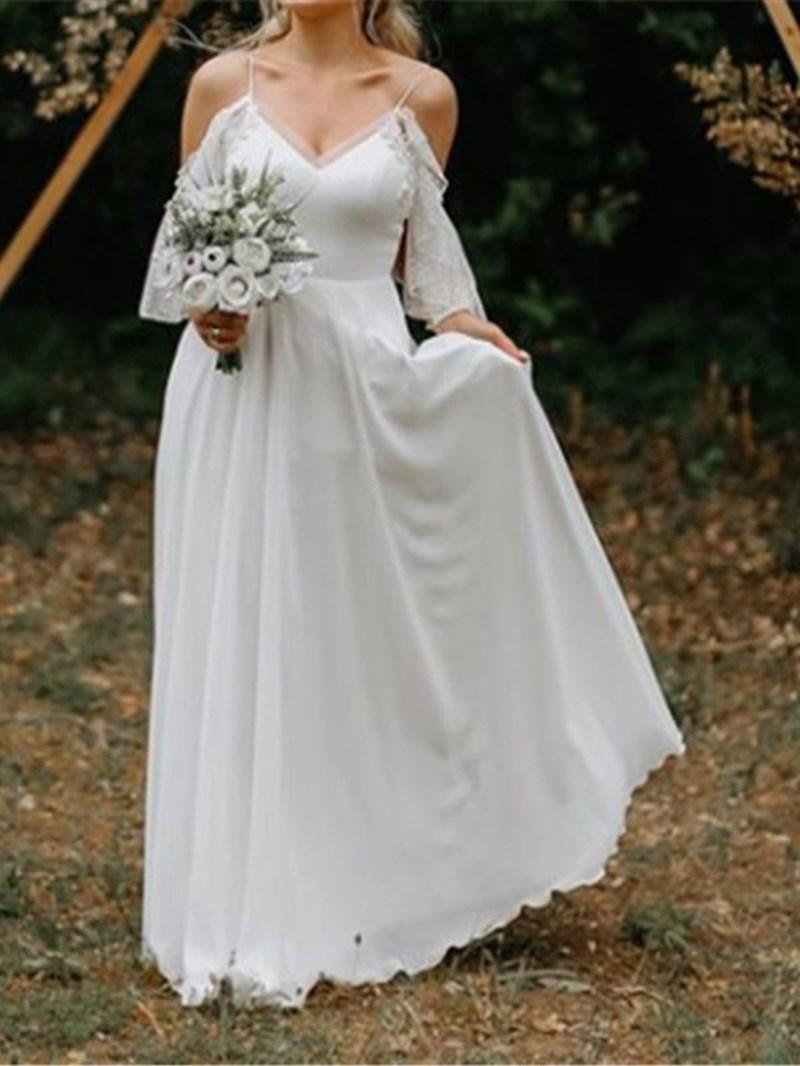 Ericdress Open Shoulder Appliques Country Wedding Dress