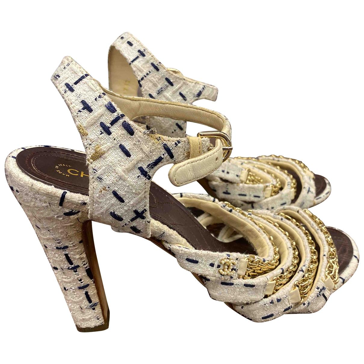 Chanel - Sandales   pour femme en tweed - blanc