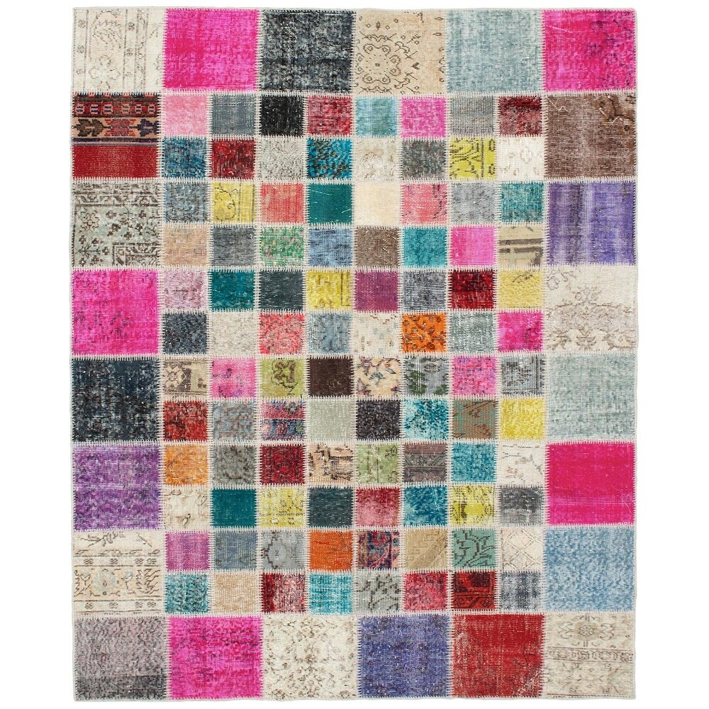 ECARPETGALLERY Hand-knotted Color Transition Patchwork Grey Wool Rug - 5'9 x 7'7 (Dark Pink/ Grey - 5'9 x 7'7)