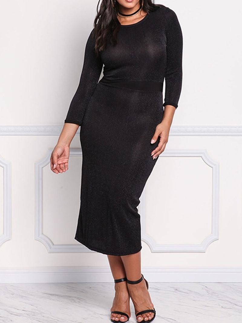 Ericdress Print Mid-Calf Round Neck Plain Bodycon Dress