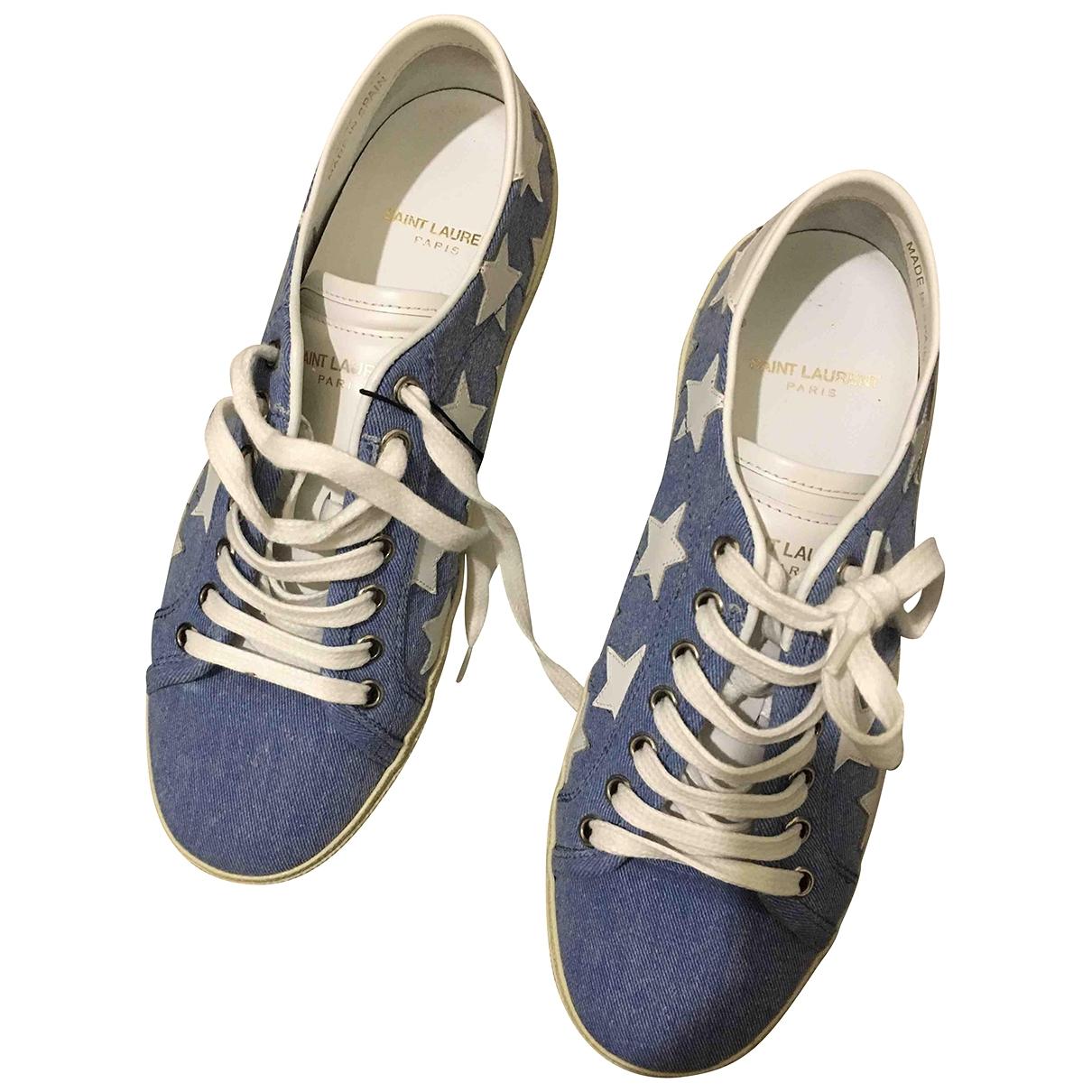 Saint Laurent Court Sneakers in  Blau Leinen