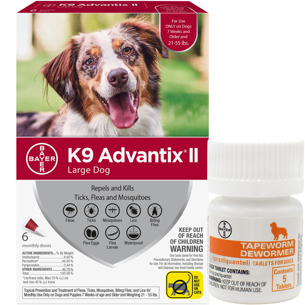 6 MONTH K9 Advantix II RED for Large Dogs (21-55 lbs) + Tapeworm Dewormer for Dogs (5 Tablets)