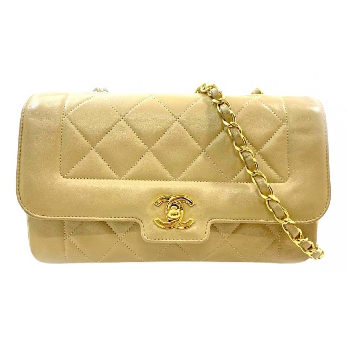 Chanel - Sac a main   pour femme en cuir - beige