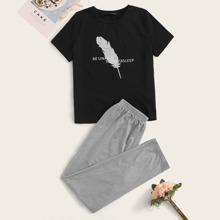 Slogan Graphic Top & Elastic Waist Pants PJ Set