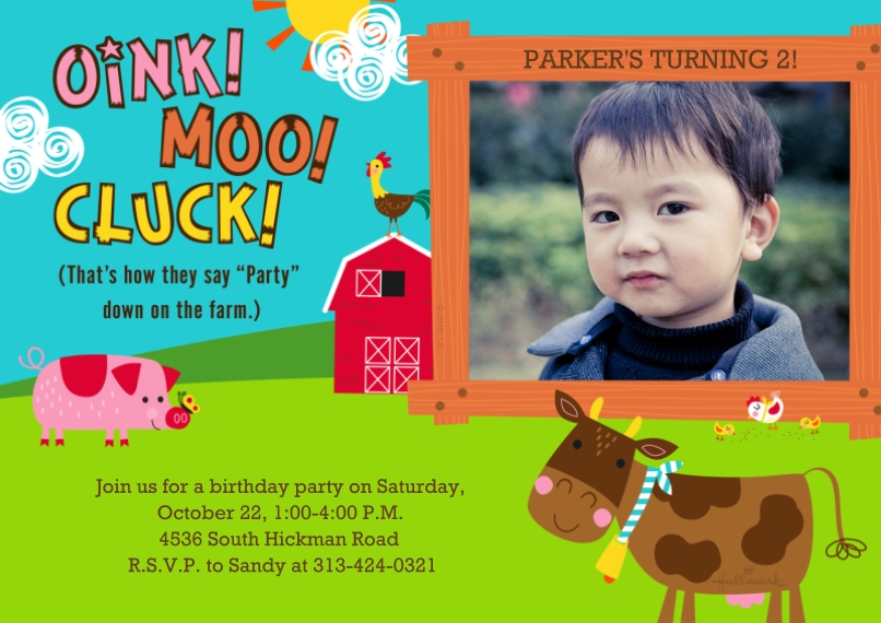 Kids Birthday Party Invites 5x7 Cards, Premium Cardstock 120lb with Rounded Corners, Card & Stationery -Party on the Farm