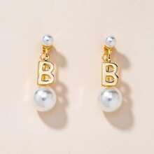 Ohrringe mit Kunstperlen & Buchstaben Dekor