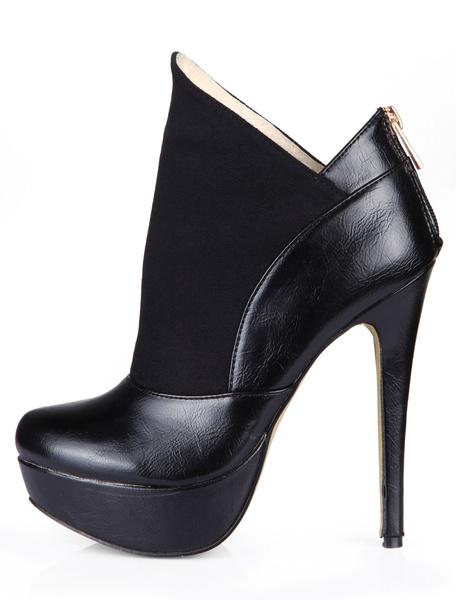 Milanoo Black Almond Toe Stiletto Heel PU Leather Modern Woman's Heeled Ankle Boots