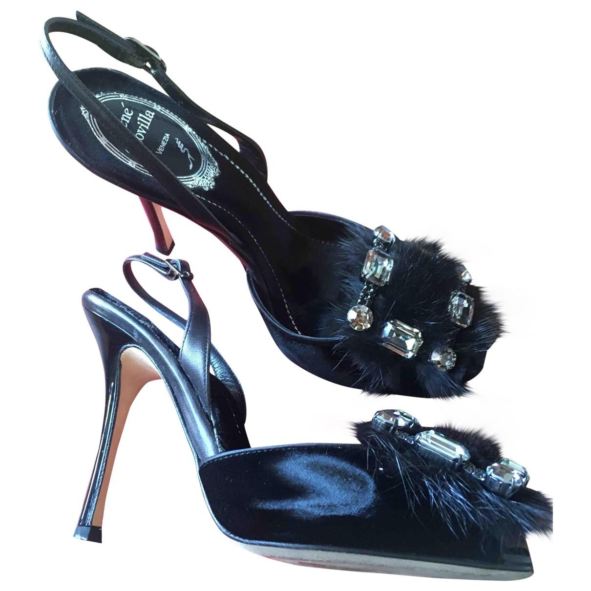 Rene Caovilla - Sandales   pour femme en velours - noir