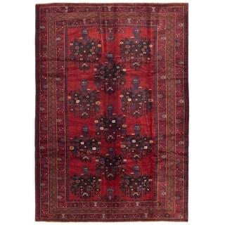 ECARPETGALLERY  Hand-knotted Rizbaft Dark Red Wool Rug - 7'3 x 10'3 (Dark Red - 7'3 x 10'3)