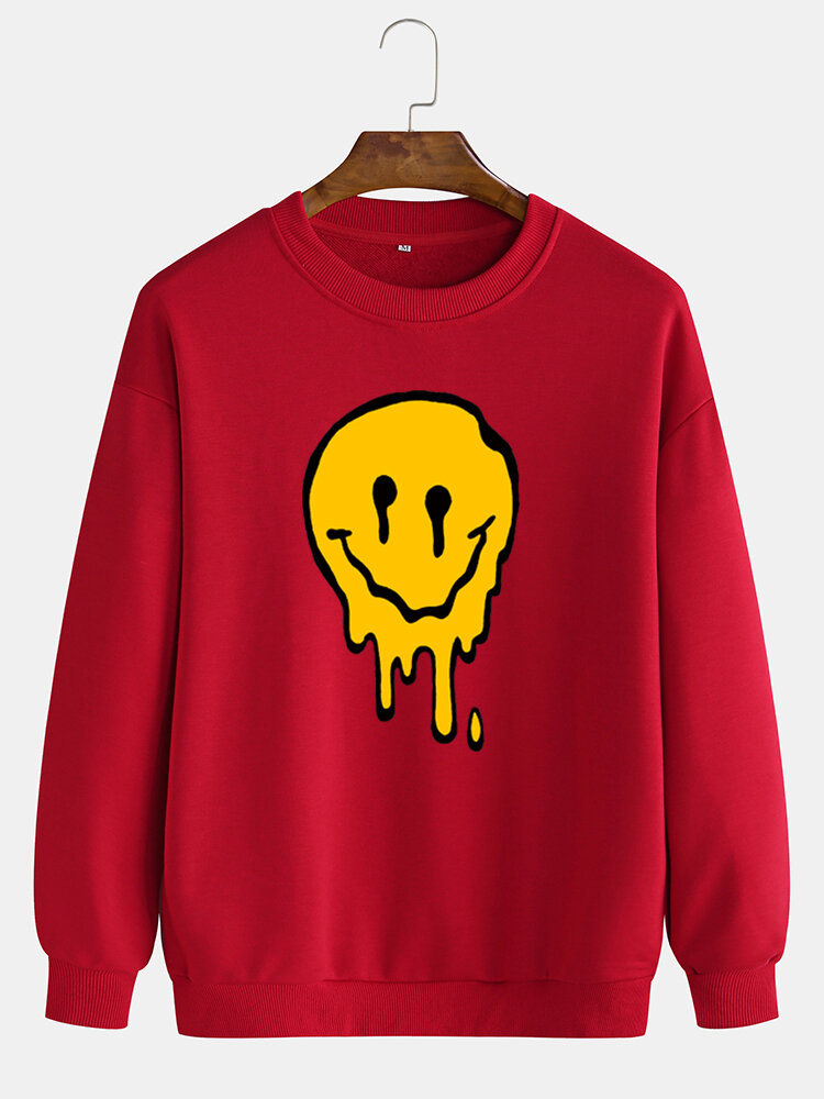 Mens Funny Smile Face Chest Print Solid Casual Loose Pullover Sweatshirts