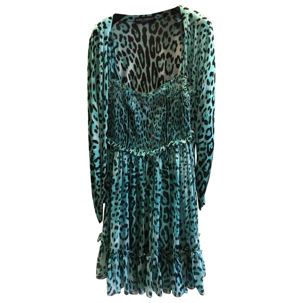 Dolce & Gabbana \N Turquoise Silk dress for Women 42 IT