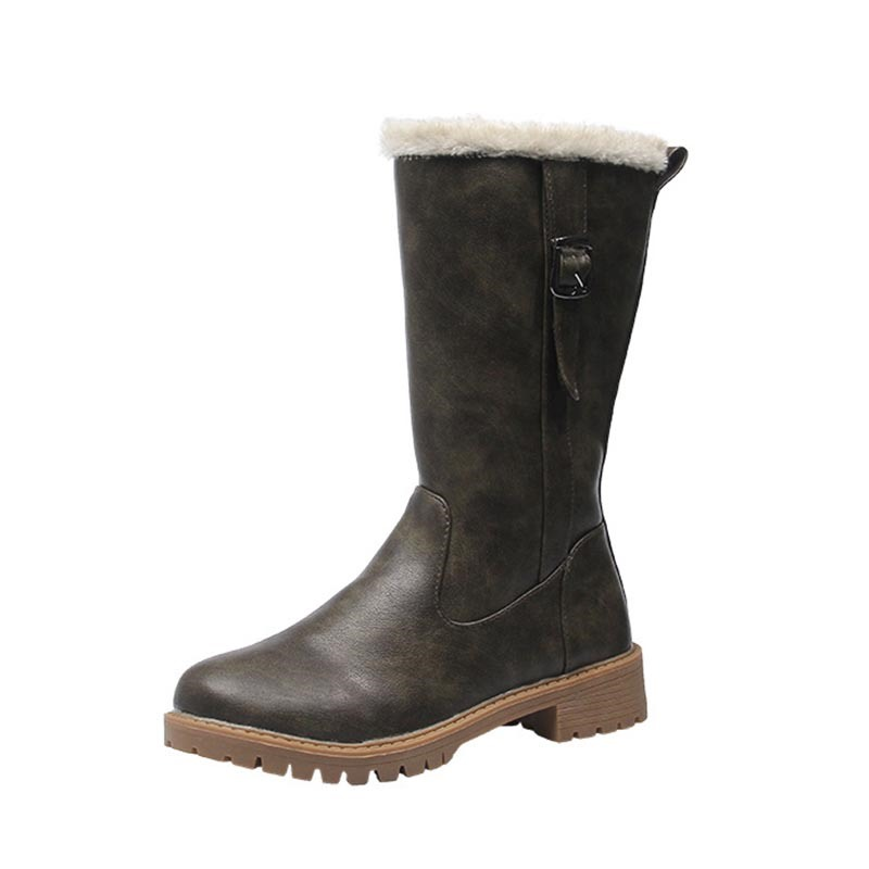Ericdress Round Toe Side Zipper Patchwork Women's Snow Boots
