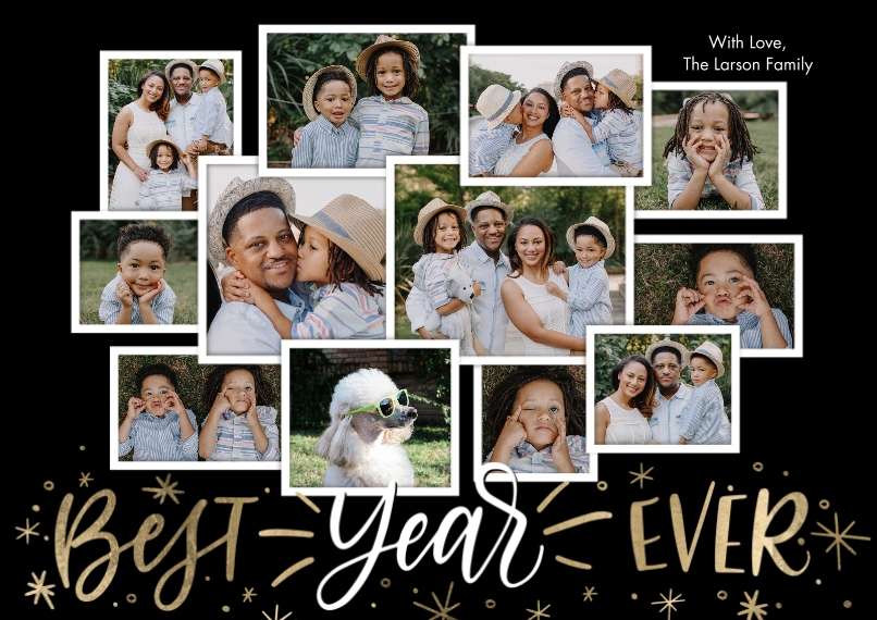 New Year's Photo Cards 5x7 Cards, Premium Cardstock 120lb with Rounded Corners, Card & Stationery -New Year Best Year Ever Collage by Tumbalina