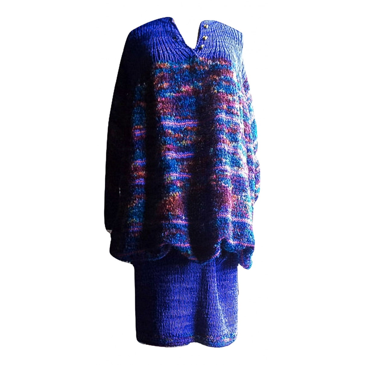 Non Signé / Unsigned Manche ballon Multicolour Wool dress for Women One Size International