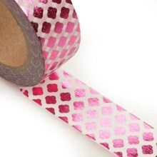 Hot Pink/White Dmnd Mtllc Washi Tape Colored - 9/16 X 10 Yards - Shipping Supplies by Paper Mart