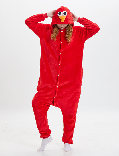 Milanoo Elmo Kigurumi Pajamas Onesie Sesame Street Costumes Adult Red Unisex Flannel Winter Sleepwear Animal Costume Halloween