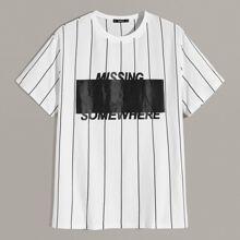 Maenner Zweifarbiges T-Shirt mit Buchstaben & Streifen Muster