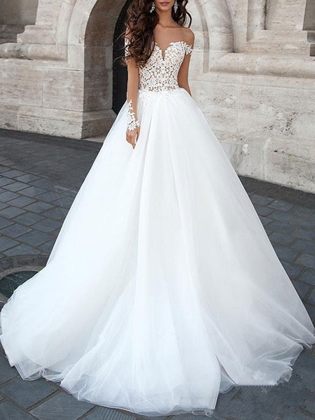 Milanoo Princess Wedding Dress 2020 Ball Gown Sweetheart Neck Long Sleeves backless Lace Tulle Bridal Dresses With Court Train