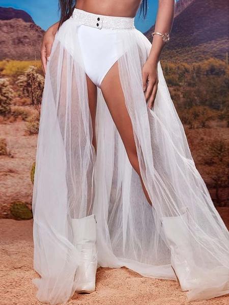 Yoins Button Design Mesh Middle-Waisted Skirt