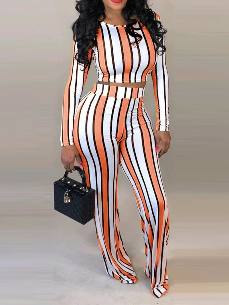 Ericdress Color Block Round Neck Wide Legs Two Piece Sets