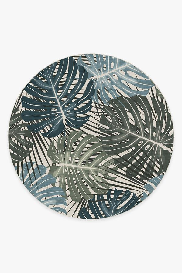Washable Rug Cover | Monstera Jade Rug | Stain-Resistant | Ruggable | 8' Round