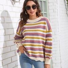 Pullover mit Streifen Muster, Bogenkante und sehr tief angesetzter Schulterpartie