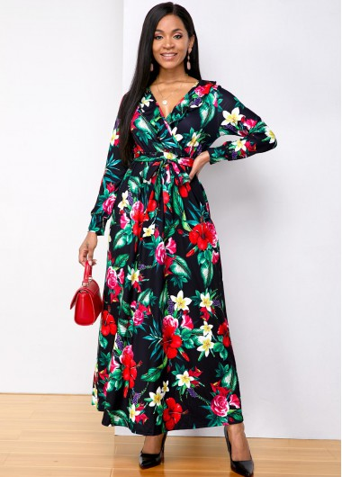 Wedding Guest Dress Long Sleeve Flower Print V Neck Maxi Dress - XL