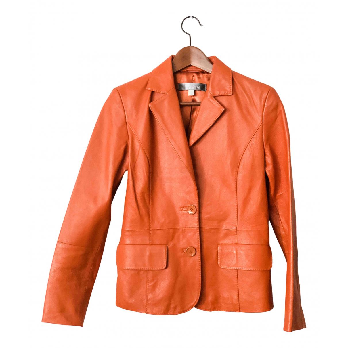 Non Signe / Unsigned \N Jacke in  Orange Leder