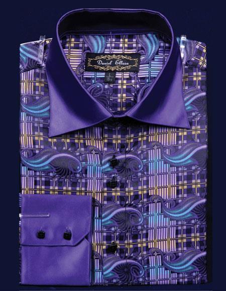 Men's High Collar ~ Shiny ~ Silky Fabric Purple Long Sleeves Shirt