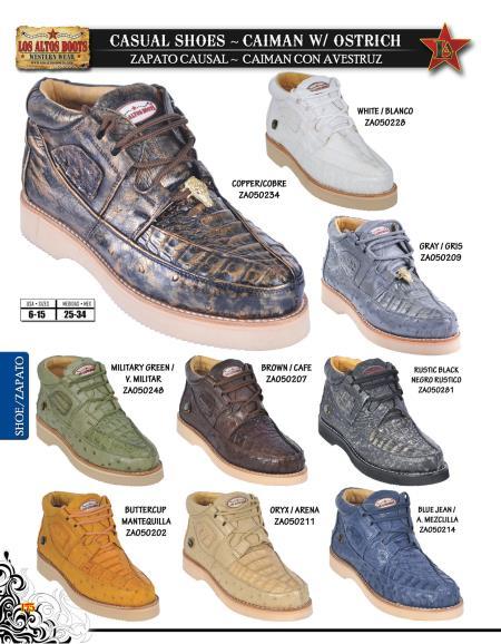 Los Altos Genuine Caiman w/Ostrich Mens Casual Shoe Diff.Colors/Sizes