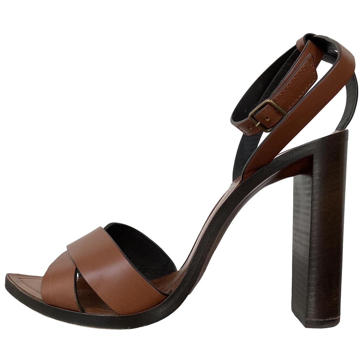 Saint Laurent N Brown Leather Sandals for Women 39 EU