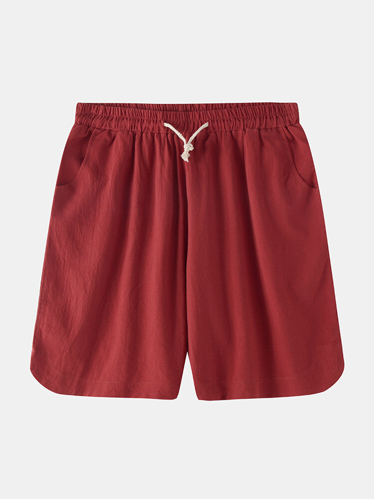 Mens Breathable Solid Color Elastic Drawstring Casual Shorts