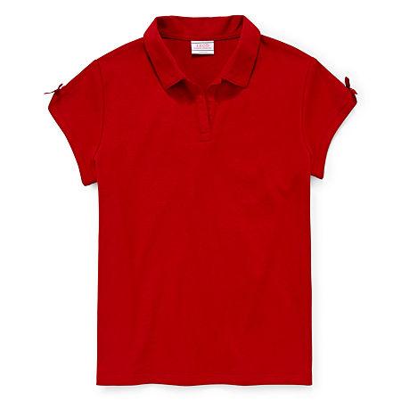 IZOD Little & Big Girls Short Sleeve Stretch Polo Shirt, 14-16 , Red