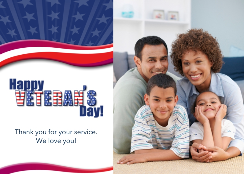 Veteran's Day Cards 5x7 Folded Cards, Standard Cardstock 85lb, Card & Stationery -Waving in the Wind