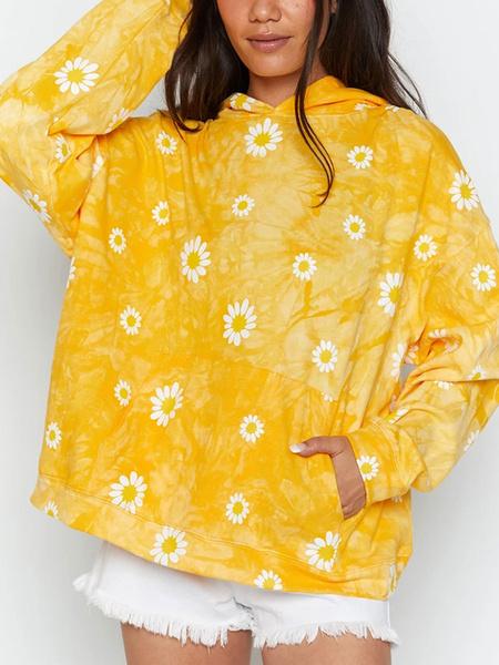 Milanoo Sudadera de mujer con capucha amarilla de manga larga estampada con capucha de poliester