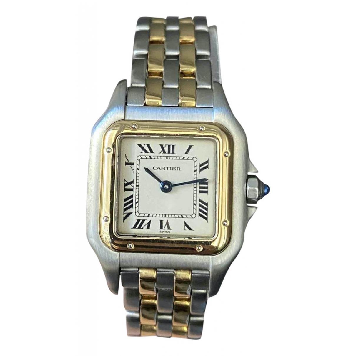Cartier - Montre Panthere pour femme en or et acier - argente