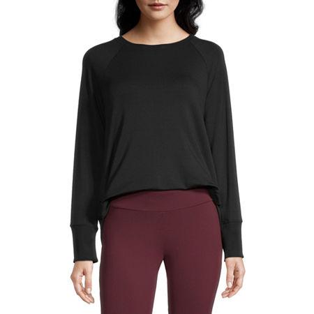 Stylus Shirttail Womens Crew Neck Long Sleeve Sweatshirt, X-small , Black