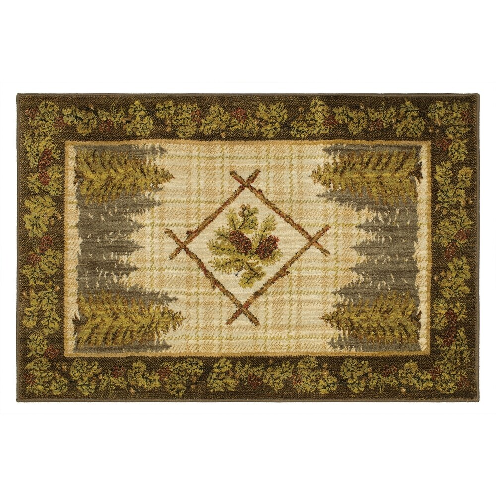 Mohawk Home Olympic Woven Area Rug (Brown/Green 2'6