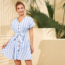 Button Front Belted Patch Pocket Striped Dress