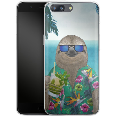 OnePlus 5 Silikon Handyhuelle - Summer Sloth Drinking Mojito von Barruf