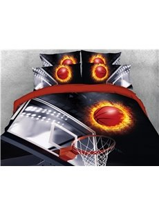 Basketball in Fire and Shooting Printing Cotton 3D 4-Piece Bedding Sets/Duvet Covers