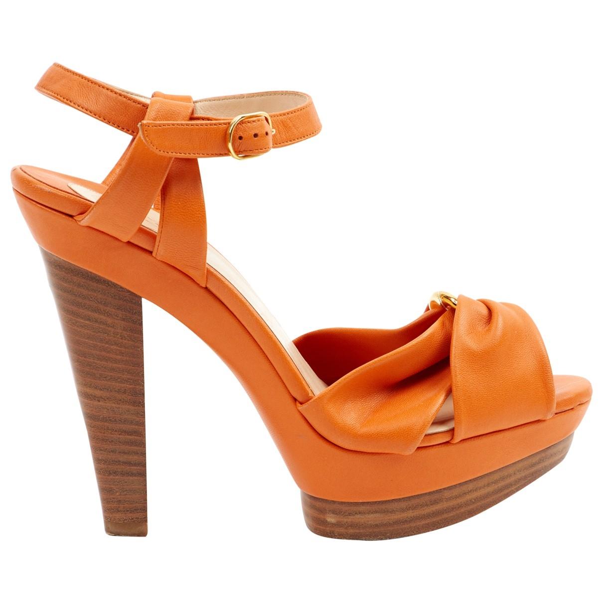 Christian Louboutin - Sandales   pour femme en cuir - orange