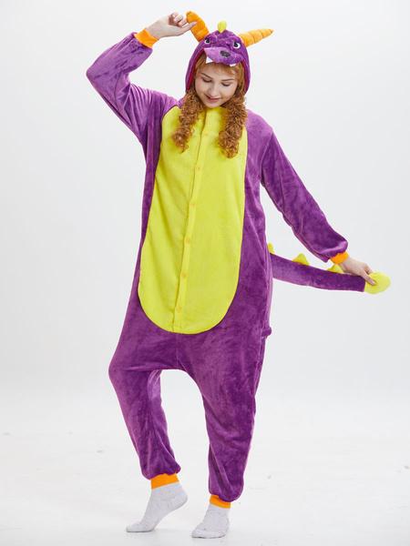 Milanoo Kigurumi Pajamas Dinosaur Onesie Purple Flannel Animal Winter Sleepwear For Adult Unisex Back With Zipper Costume Halloween