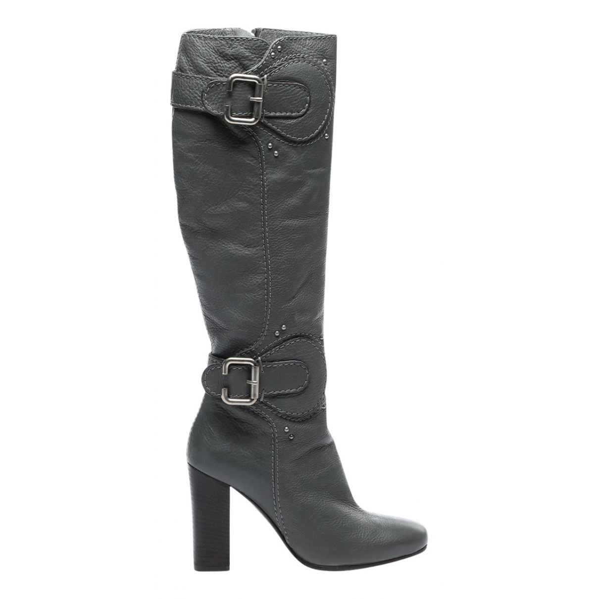 Chloé \N Grey Leather Boots for Women 38.5 EU
