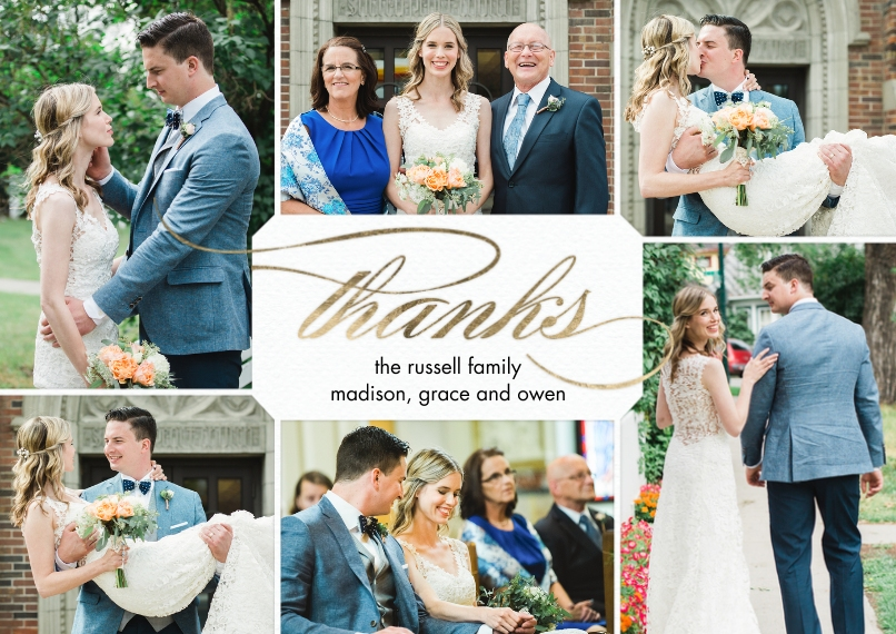 Wedding Thank You 5x7 Cards, Premium Cardstock 120lb with Rounded Corners, Card & Stationery -Thank You Classic Gold